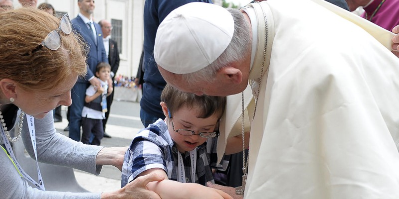 Pope Francis, Tommy, and Mary O'Callaghan at the Jubilee of Mercy