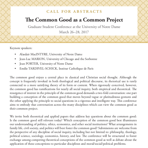Call For Papers Common Good